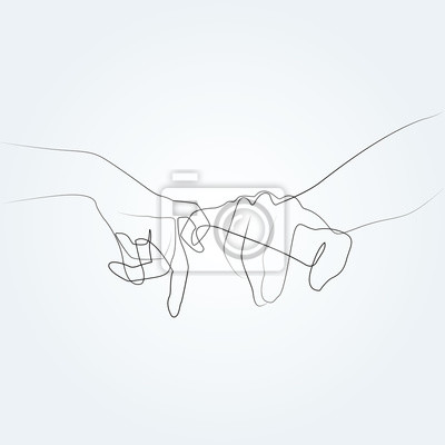 One line drawing hand from two lovers