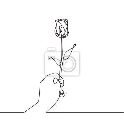 One line drawing hand holding flower continuous one line drawing. Simple symbol of love sign vector illustration.