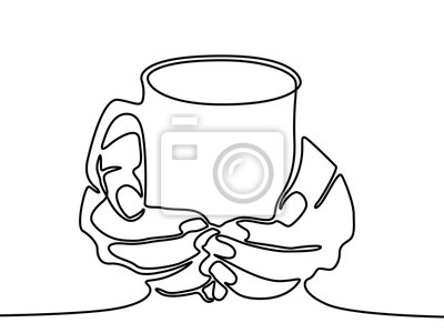 One line drawing Hand holding mug with tea or coffee.
