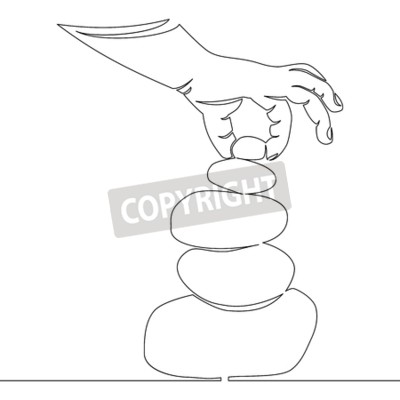 One line drawing hand putting the last stone on the top of a pile of flat stones Zen rock balancing Vector illustration