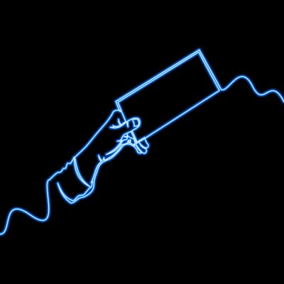 One line drawing hand with piece of paper neon