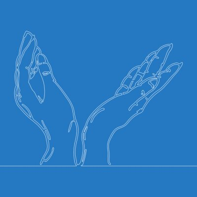 One line drawing hands holding something concept