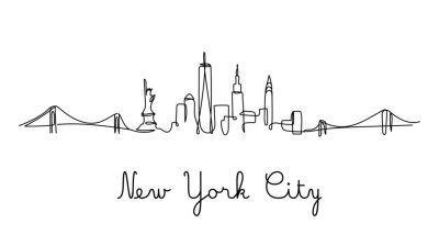 Naklejka One line style New York City skyline. Simple modern minimaistic style vector.