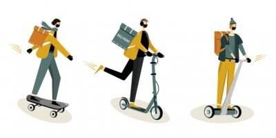 Online delivery service concept, online order tracking, delivery home and office. Courier in respiratory mask and gloves.