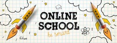 Naklejka Online School. Digital internet tutorials and courses, online education. Vector banner template for website and mobile app development
