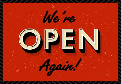Open again after quarantine, vector illustration of small business owner welcoming customers, information re-opening of shop, service, cafe, restaurant, barbershop are working again