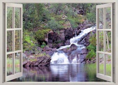 Naklejka Open window view to mountain waterfall and pond