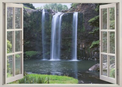 Naklejka Open window view to Whangarei Falls, Northland Region (North Island), New Zealand