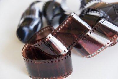 Naklejka Opracowany film negatywowy na białym tle.