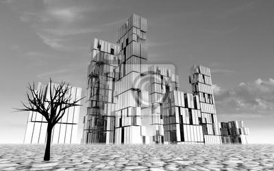 opuszczone miasto w koncepcja pustyni ilustracji