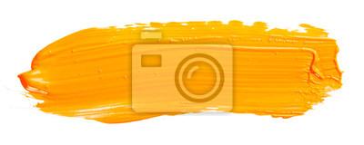 Naklejka Orange yellow brush stroke isolated on white background. Orange abstract stroke. Colorful watercolor brush stroke.