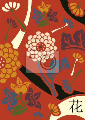 Orient kwiaty czerwone tło