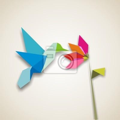 Naklejka Origami koliber