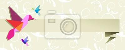 Naklejka Origami koliber grupa banner kwiatowy wzór