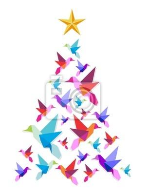 Origami kolibry choinki.