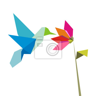 Origami kolibry i kwiat na białym tle