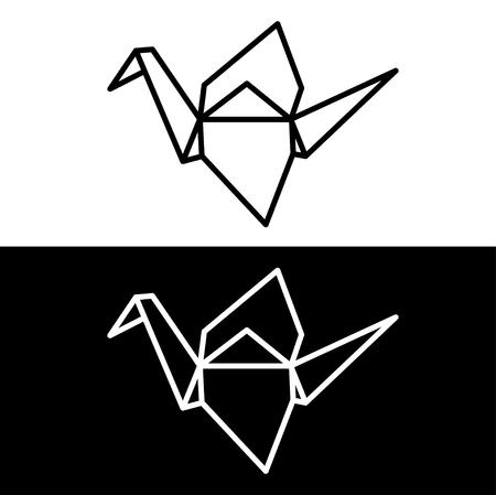 Origami papieru dźwigowy symbol na białym i czarnym tle. Prosta, minimalna ikona linii wektorowej.