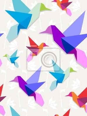 Naklejka Origami tło wzór Kolibry