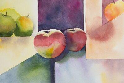 Naklejka Original watercolor, still life, apple design.