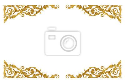 Naklejka Ornament elementy vintage złoto kwiatowy do dekoracji