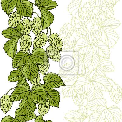 Ornament Hop Na zielonym tle grunge, ilustracji wektorowych