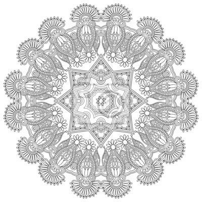 Ornament koronki koło, okrągły ozdobny wzór geometryczny serwetka,