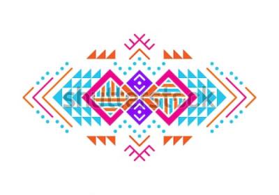 Naklejka Ornament w stylu azteckim. Projekt ozdobnego wzoru indian amerykańskich. Tribal ozdobny szablon. Etniczna ornamentacja. Kolorowy tło.