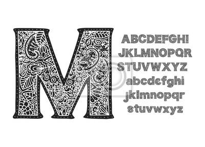 Ornate decorative vector font. Monogram letters.
