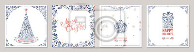 Ornate Merry Christmas greeting cards. Suitable for social media post, mobile apps, banner design and web/internet ads.