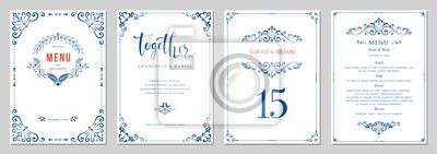 Naklejka Ornate wedding invitation, menu, table number.