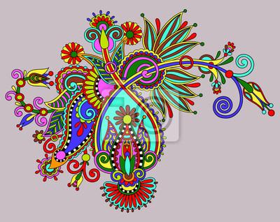 Oryginalny cyfrowa linia remis sztuki zdobienia kwiat. Ukraińska t