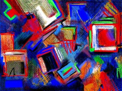 Oryginalny ręcznie narysować abstrakcyjną kompozycję cyfrowy obraz