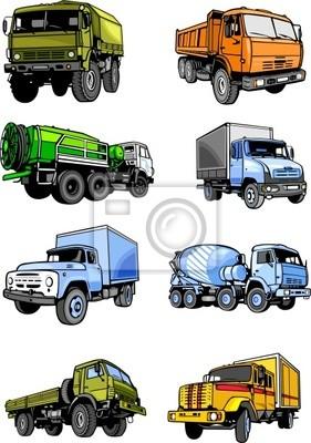 Osiem ciężarówek. Cars.