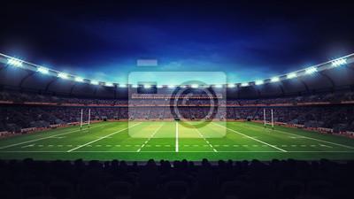 oświetlone nowoczesny stadion rugby z widzów i trawa zielona