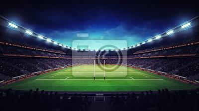 oświetlony stadion rugby z widzów i trawa zielona