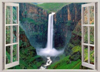Naklejka Otwarty windoq panoramiczny vuew do Iguacu Falls, Brazylia