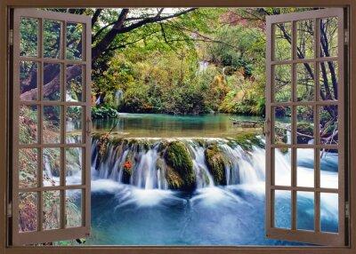 Naklejka Otwórz okno, aby strumień wody