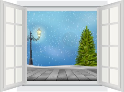Naklejka Otwórz okno Choinka i latarni na tle zimowego