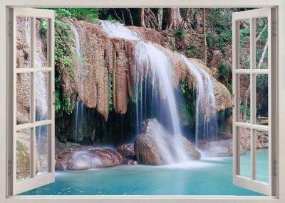 Naklejka Otwórz okno widok Erawan Falls, Tajlandia
