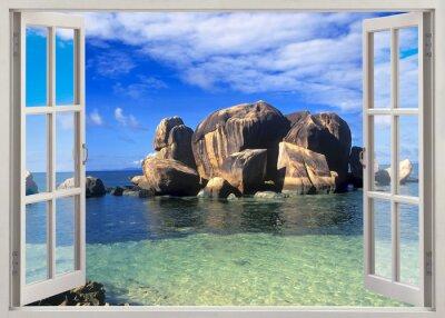 Naklejka Otwórz okno widok na brzegu Seszeli