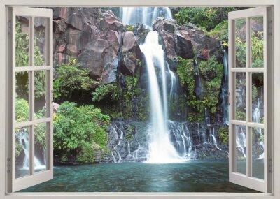 Naklejka Otwórz okno widok na Cormoran wodospad, Reunion Islandii