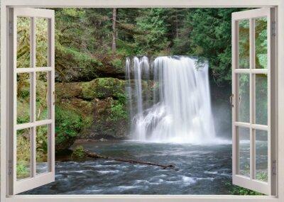 Naklejka Otwórz okno widok na Górny Notrh Falls i rzeki