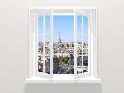 Naklejka Otworzył okno i widok na wieżę Eiffla, Paryż