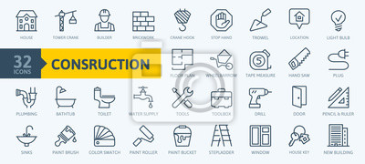 Naklejka Outline web icons set - construction, home repair tools. Thin line web icons collection. Simple vector illustration.