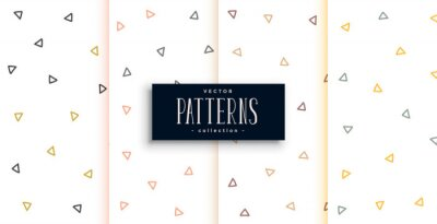 outlines triangle pattern white patterns set of four