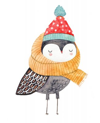 Naklejka owl in a scarf and hat - watercolor drawing