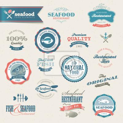Owoce morza i elementy etykiety