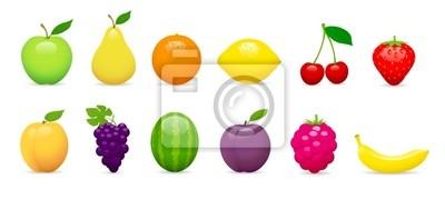 Owoce vectoriels sur fond blanc 1