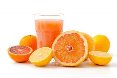 Naklejka owoców cytrusowych i soku