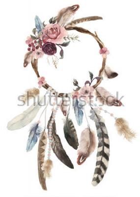 Naklejka Ozdoba do snów z akwarelą, dekoracja z piór boho, szyk w stylu marzeń, tajemniczy etniczny nadruk, kultura amerykańska, cygański ornament, łapacz snów